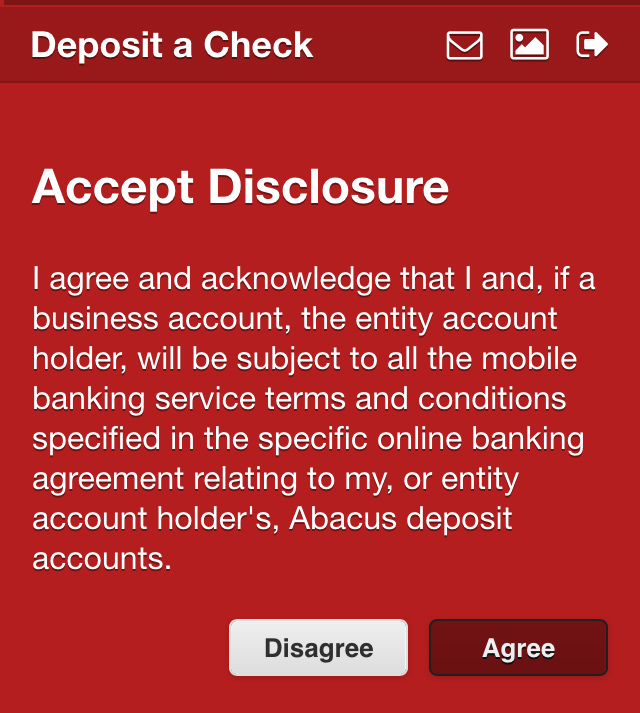 Abacus Online Bank Check Deposit Service Agreement Demo