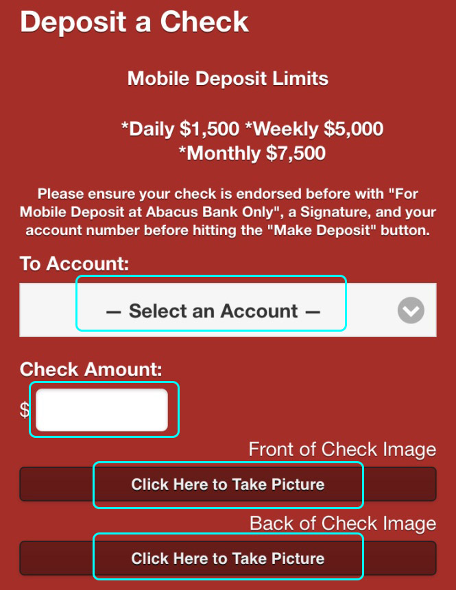 Abacus Online Bank Check Deposit Demo